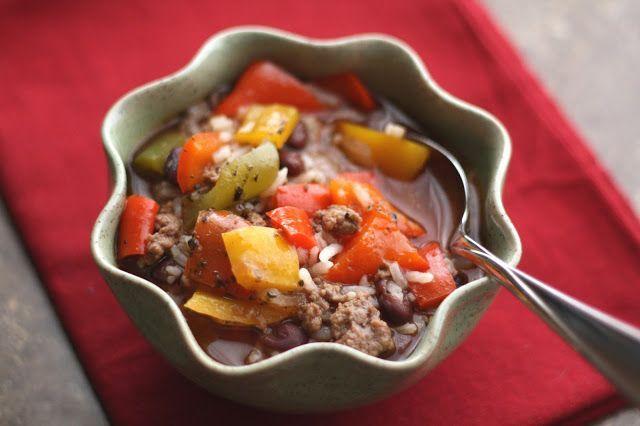 Crockpot Stuffed Bell Pepper Soup recipe by Barefeet In The Kitchen