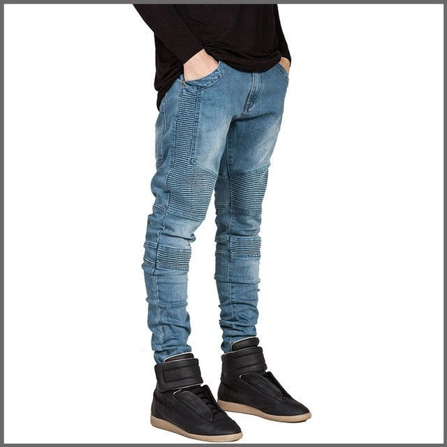 Pleated patchwork locomotive jeans fashion biker jeans men cotton street style skinny men jeans motorcycle jeans men