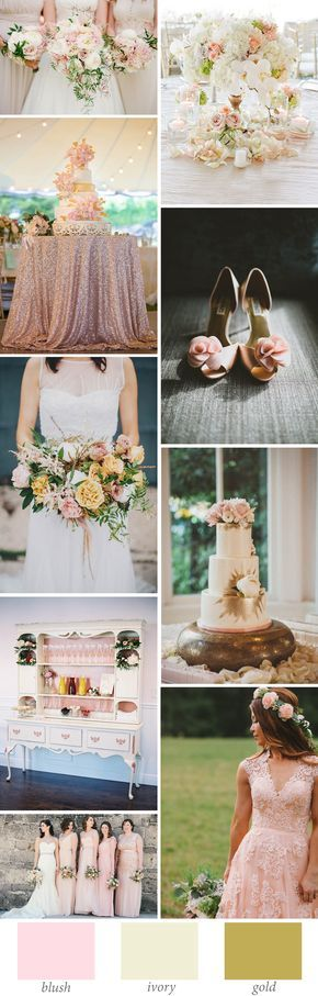 blush ivory and gold wedding color palette