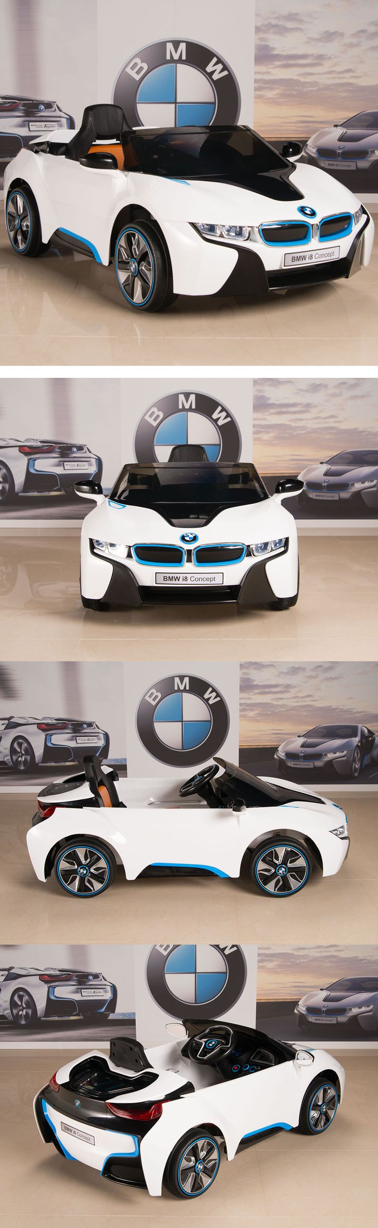 Ride On Toys and Accessories 145944: Bmw I8 Ride On Kids Power Wheels Car Rc Remote 12V White W Blue And Black Trim -> BUY IT NOW ONLY: $289 on eBay!
