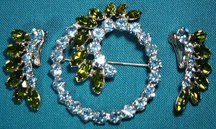 Signed B. David Green Blue Rhinestone Pin & Earrings Set 1960s