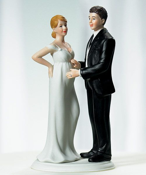 This beautifully detailed expecting bridal couple cake top couple celebrates two important milestones in life !