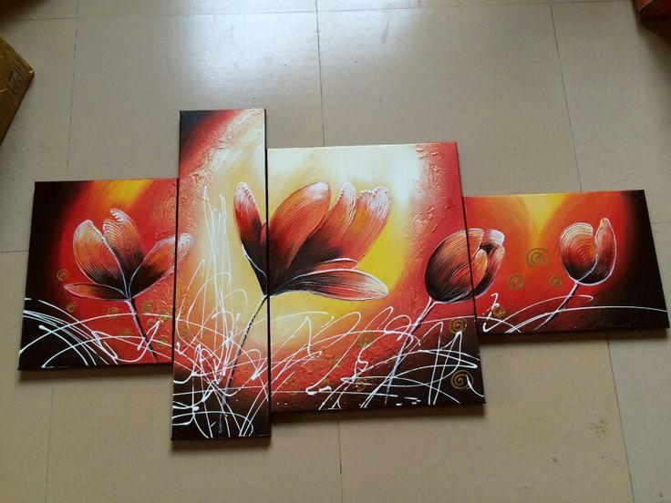 Toile contemporaine peinte à l'huile en quatre panneaux. Des centaines de peintures design sur www.tableaux-online.com