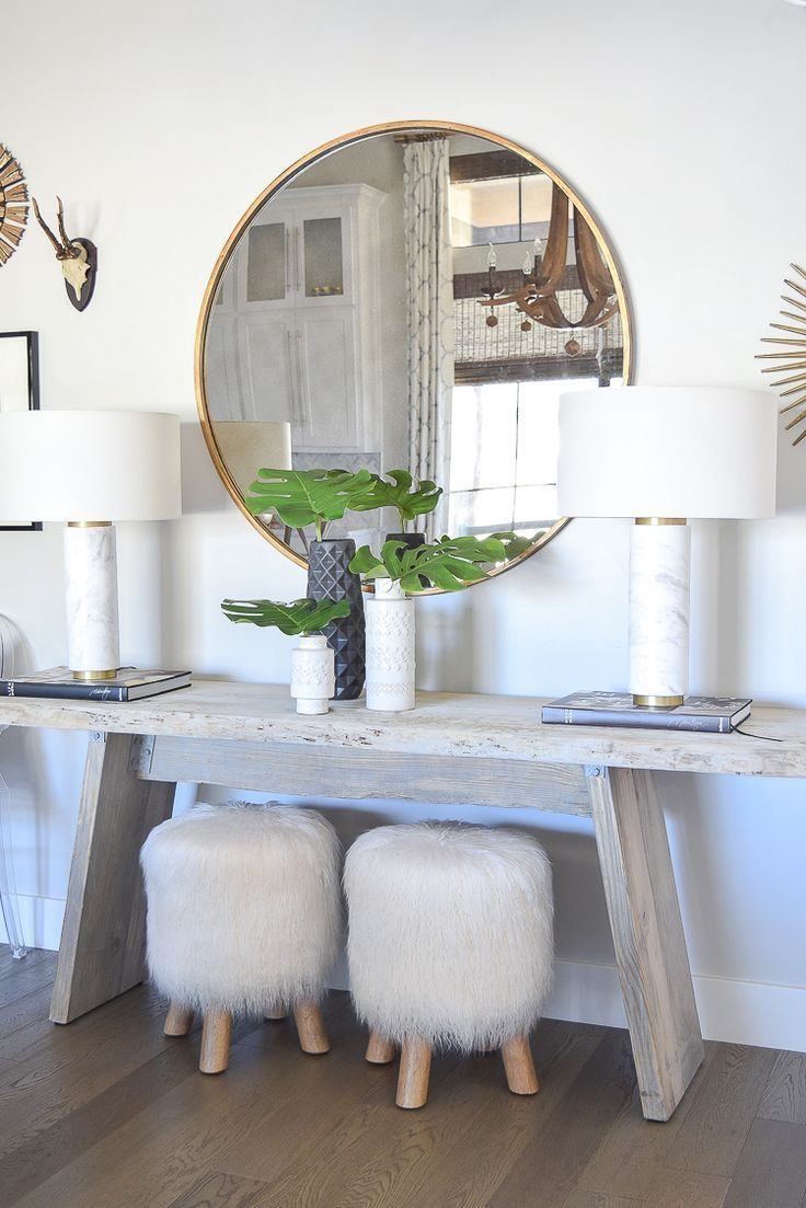 spring home tour marble and brass table lamps round gold mirror fur stools sherwin williams on