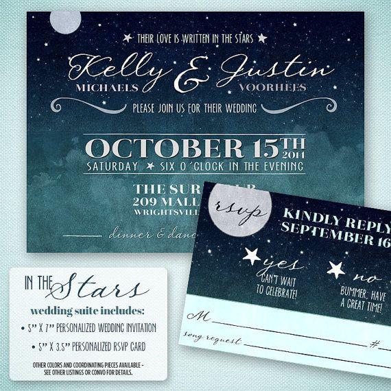 Love Written in the Stars Wedding Invitation - Starry Night Wedding Invitation and RSVP Card - Retro Wedding Invitation Suite Printable