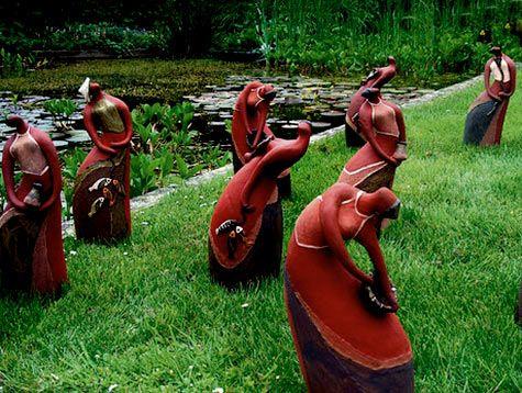Ceramic Sculptures From Vietnam In The Garden Of The Golden Tulip Hotel. (  Philly International Home And Garden Art )