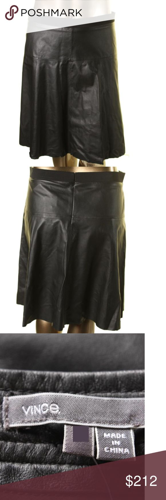 VINCE $695* Black Lamb Leather A-Line Skirt VINCE Black Lamb Leather Knee-Length A-Line Skirt Vince Skirts A-Line or Full