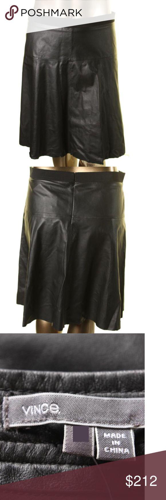 VINCE $695* Black Lamb Leather A-Line Skirt VINCE Black Lamb Leather Knee-Length A-Line Skirt Vince Skirts A-Line or Full
