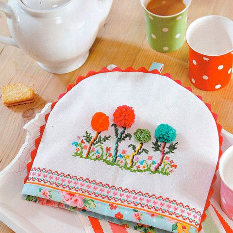 Pom Pom Flower Apron and Teacosy - Cross Stitcher PDF by Jacqui Pearce Inspiration for #crafteratti August 2015 www.crafterattti.com