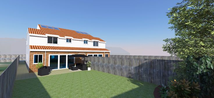 Rendered image of proposed detached house - sketch up, architecture, render