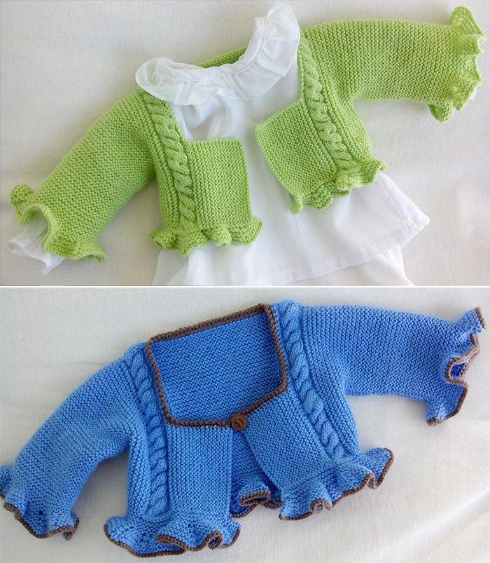 Free Knitting Pattern for Fiesta Baby Shrug