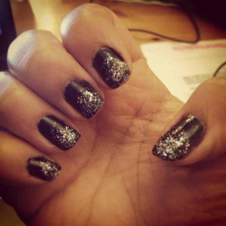 Black Nail Polish With Graduated Glitter