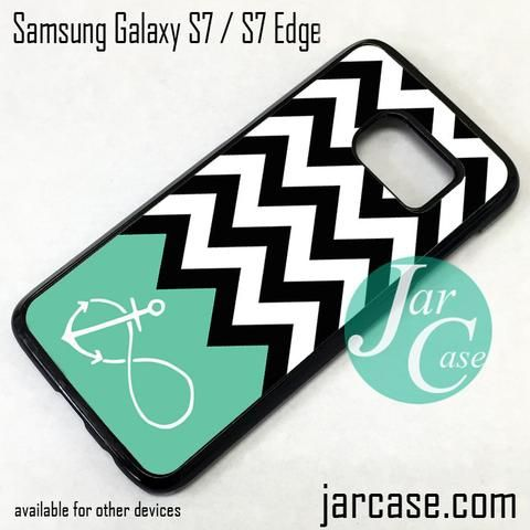 Black White Chevron Blue Infinity Anchor Phone Case for Samsung Galaxy S7 & S7 Edge