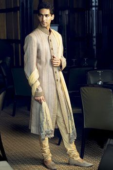Jute Linen Sherwani with Zardosi work with stole.
