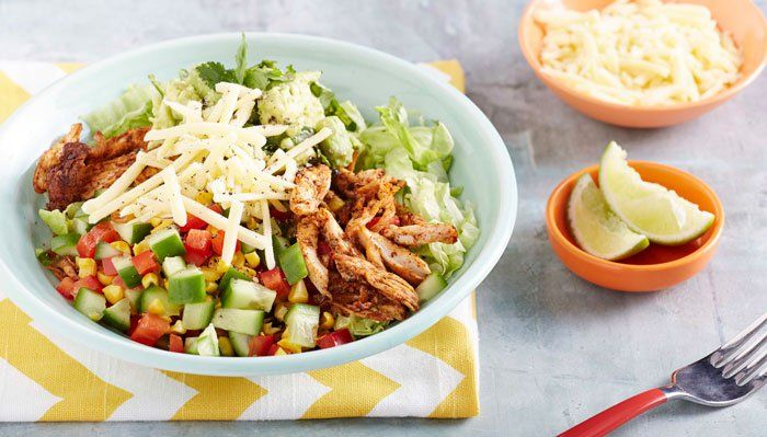 Chicken Burrito Bowl - I Quit Sugar. A sneak peek at one of our 8-Week Program recipes.    Omit: cheese, corn, sub turkey for chicken Sub for iceberg lettuce.