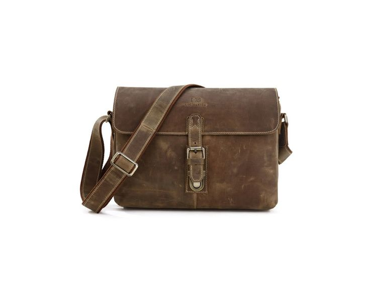 This good looking rugged leather messenger bag is worn with a strap across the body. The leather is 100% genuine wax treated leather.