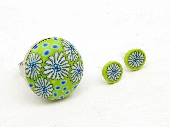 ring and earring antialergic Set aus handgefertigtem Polymer clay , fimo, millefiori,  Ring und von polymerdesign