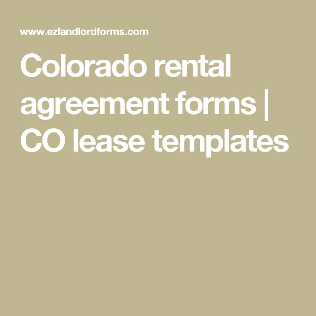 Colorado rental agreement forms | CO lease templates