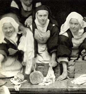 St. Therese on Wash Day at the convent, 1895  ~This would be a cool print to hang in your laundry room.  #Catholicdecor