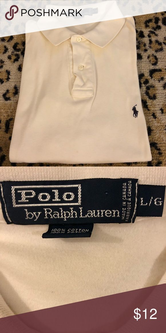 Polo Ralph Lauren Solid White Polo Shirt L Polo Ralph Lauren Solid White With Navy Blue Pony Logo Short Sleeve Polo Shirt size L! Great condition! Please make reasonable offers and bundle! Ask questions! :) Polo by Ralph Lauren Shirts Polos