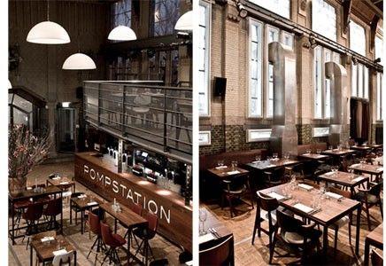 industrial heritage, former pompstation Waternet, now restaurant, Amsterdam, th Netherlands