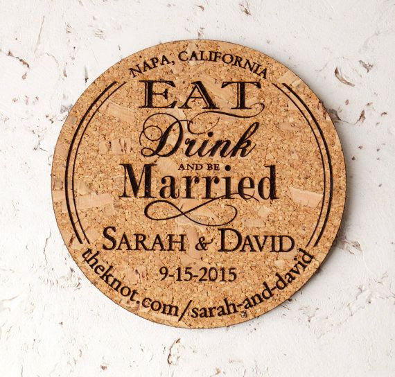 wine wedding cork save the date coasters