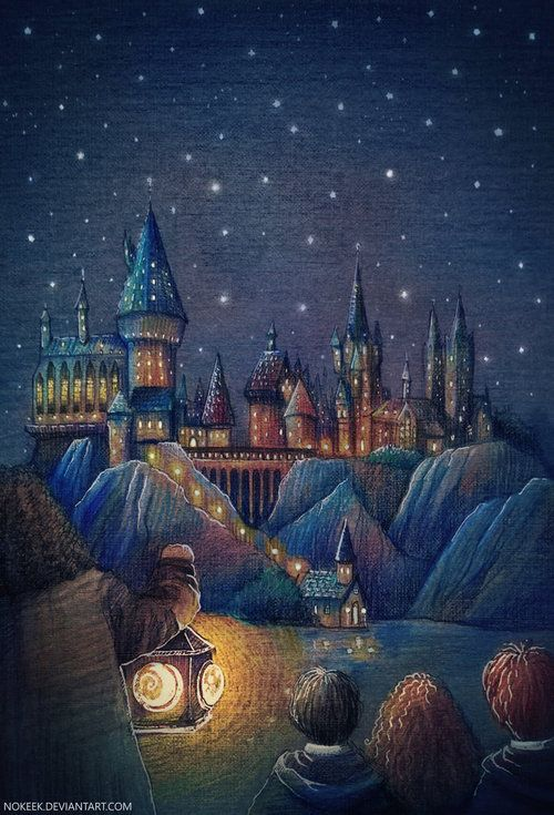 """The narrow path had opened suddenly onto the edge of a great black lake. Perched atop a high mountain on the other side, its windows sparkling in the starry sky, was a vast castle with many turrets and towers.""Artwork by Lena."