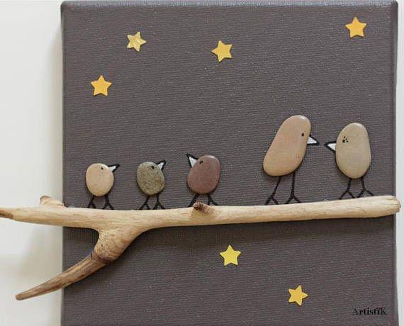 Tableau chambre enfant tableau deco galets bois flotté