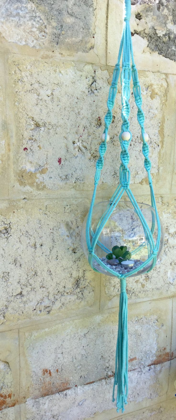 Macrame Plant Hanger Mint cotton and polyester rope with natural wooden beads