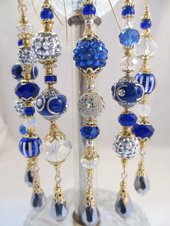 Blue And Silver Kashmiri Christmas Bead by LaReineDesCharmes, $36.00