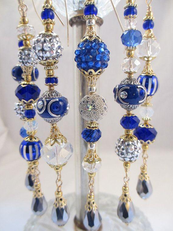Blue And Silver Kashmiri Christmas Bead by LaReineDesCharmes, $36.00