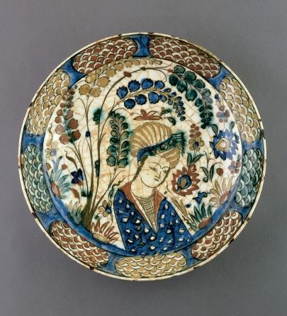 Plate With Youth In Landscape Setting. Date:Early 17th Century. Place:Northwestern Iran/Iran.