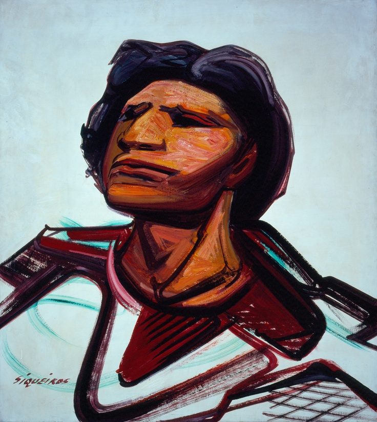 """Emperador Cuauhtémoc, 1946  ~ by David Alfaro Siqueiros (1896-1974) Mexican Social Realist Painter best known for large murals in fresco. Along w/ Diego Rivera & José Clemente Orozco, established """"Mexican Muralism."""" Wikipedia http://munal.mx/munal/?page_id=900&pza_id=3164"""