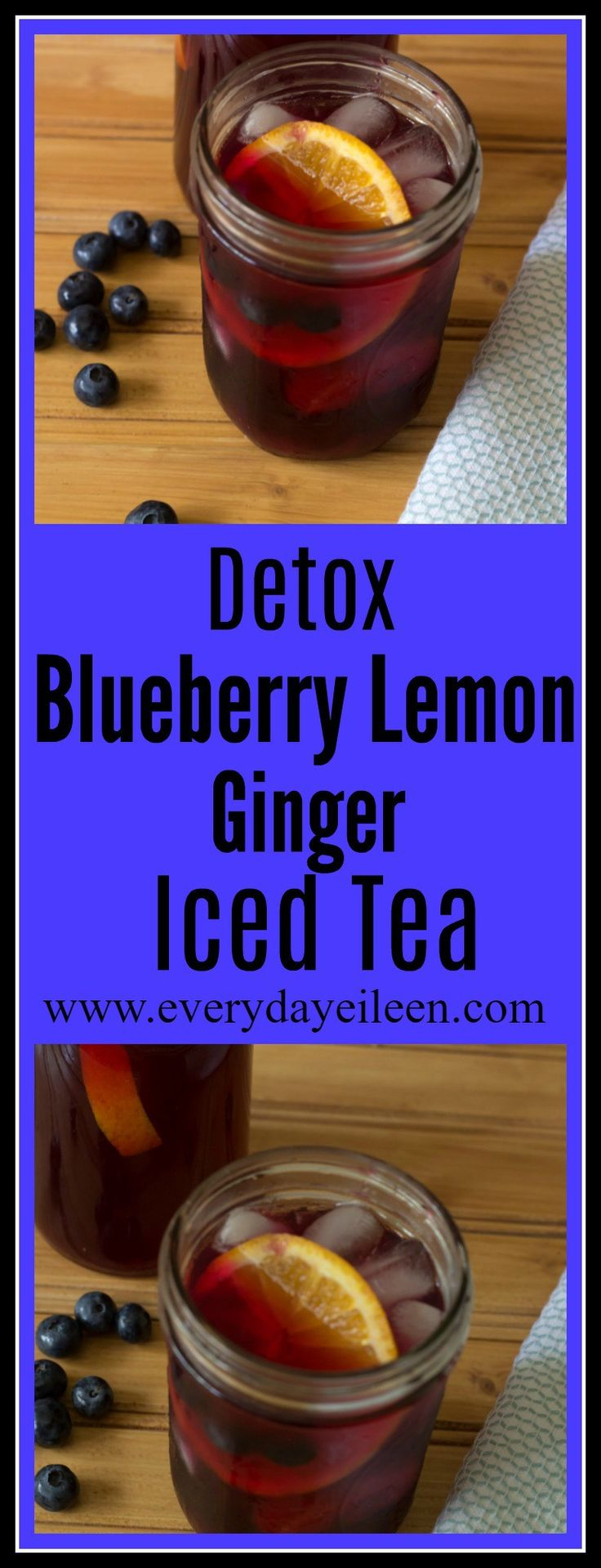 Detox blueberry lemon iced tea is filled with antioxidants from blueberries, ginger and lemon. Perfect cold and also is great as a hot tea!