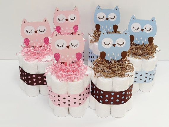 Owl Mini Diaper Cake Baby Shower Centerpiece
