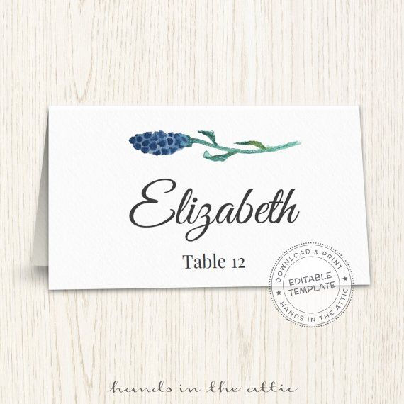 photograph about Printable Escort Cards known as Floral wedding ceremony placecard template, printable escort playing cards