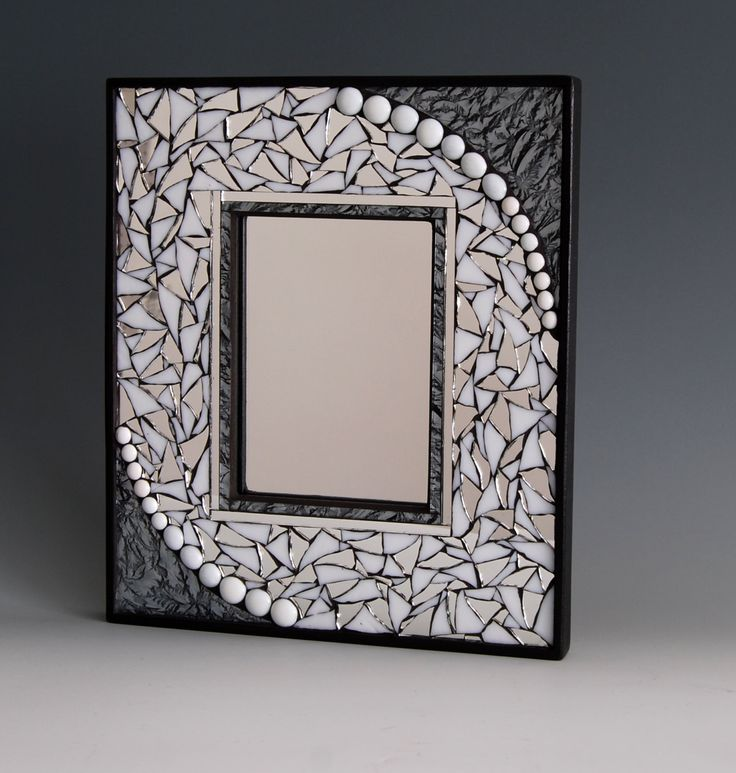 Mosaic mirror with stained glass, mirror pieces, and silver Van Gogh glass. by GradaMosaics on Etsy