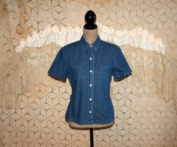 Vintage Womens Denim Shirt Short Sleeve Top by MagpieandOtis