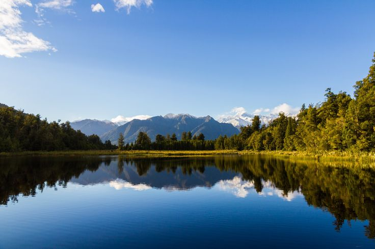 Lake Matheson near Fox Glacier in the South Island of New Zealand. Stunning reflections in the early morning.