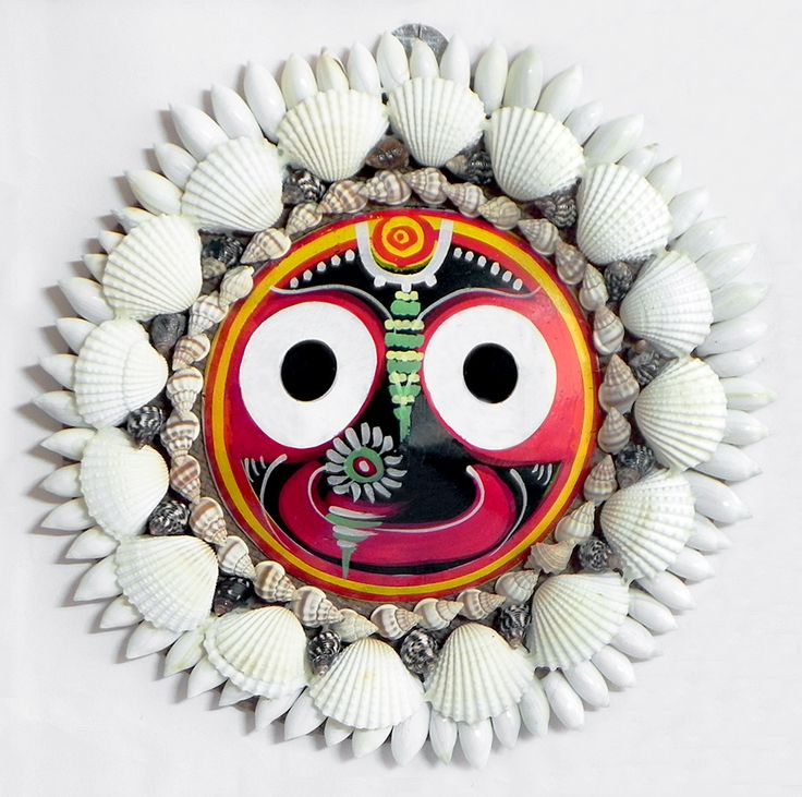 Jagannath Face Decorated with Shells (wall Hanging) (Wood and Shell)