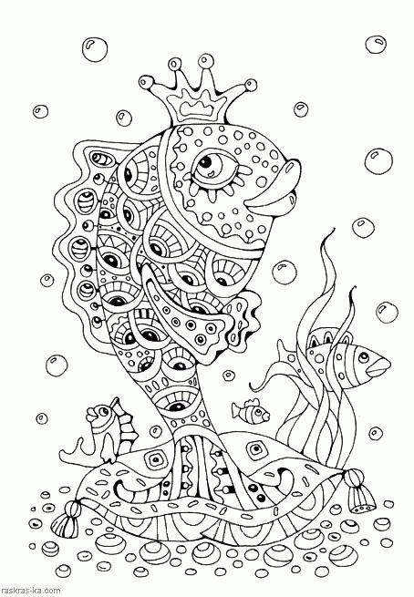 Раскраска Золотая рыбка | Раскраски, Контурные рисунки ...