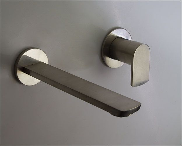 Brushed Nickel Wall Mounted Basin Tap 36bb In 2020 Wall Mounted Basins Brass Bathroom Basin Taps