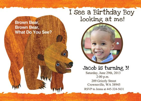61 best Baby Judes 1st Brown Bear Birthday Party images on – Eric Carle Birthday Invitations