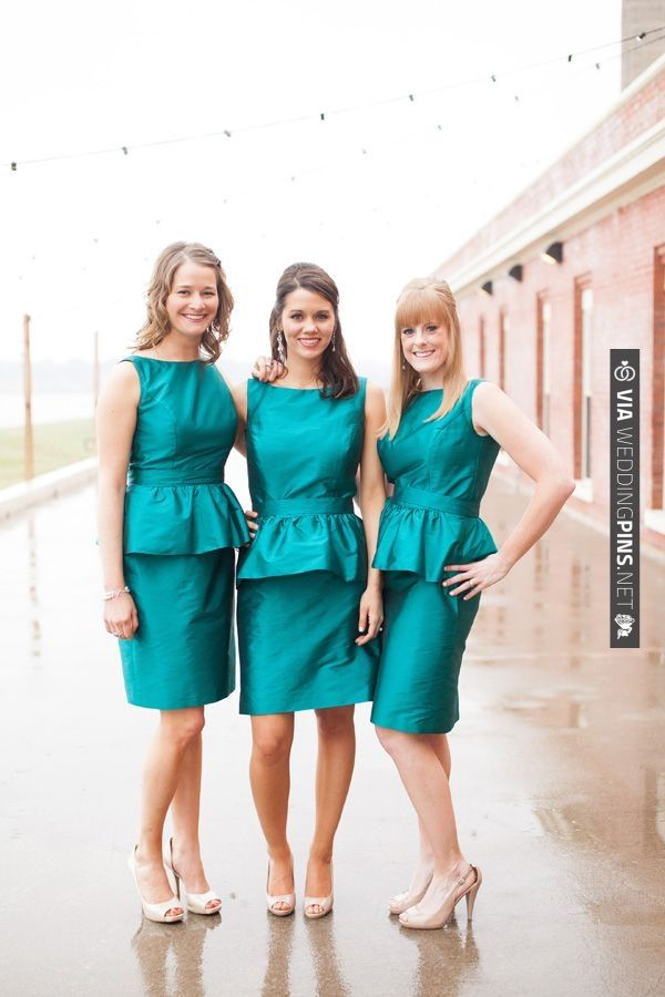 teal peplum bridesmaid dresses | CHECK OUT MORE IDEAS AT WEDDINGPINS.NET | #bridesmaids