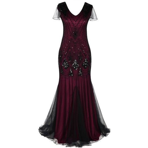 PrettyGuide Women Evening Dress 1920s Flapper Cocktail Mermaid Plus... ($44) ❤ liked on Polyvore featuring dresses, gowns, 1920s evening dresses, purple evening gowns, plus size formal gowns, plus size ball gowns and formal evening gowns