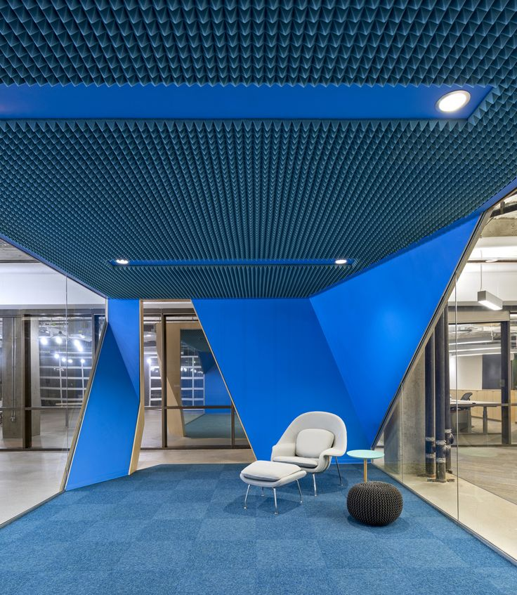 Knoll Womb Chair against bright blue quiet space at Venafi Headquarters - Salt Lake City - Office Snapshots