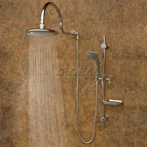 Aqua Rain Shower System, Silver Finish, Rain Shower Head, Chrome Fixtures