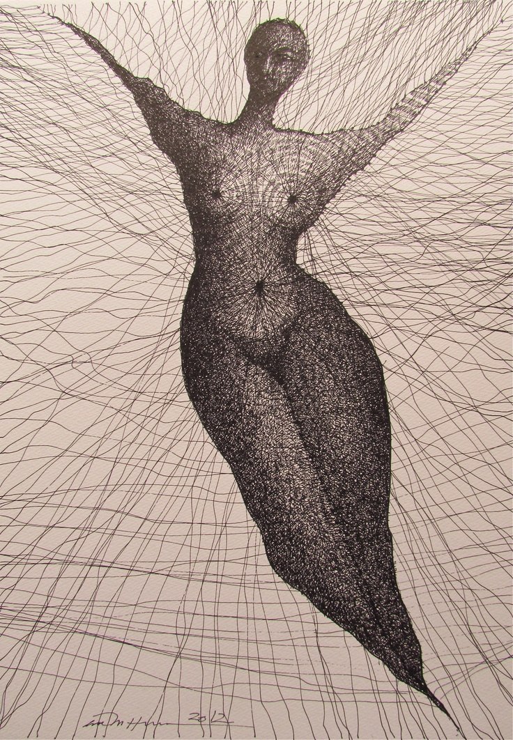 Åse Margrethe Hansen/Strings attached. Ink drawing, 2012