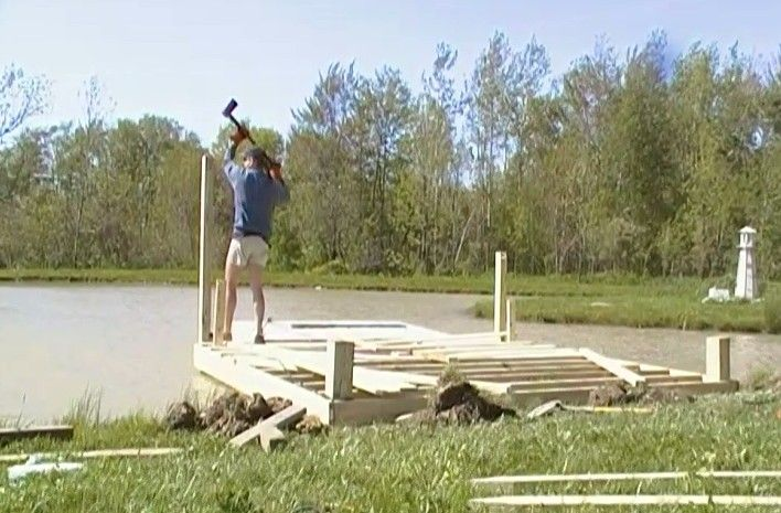 Building a dock pier on the farm pond was a little for Pond pier plans