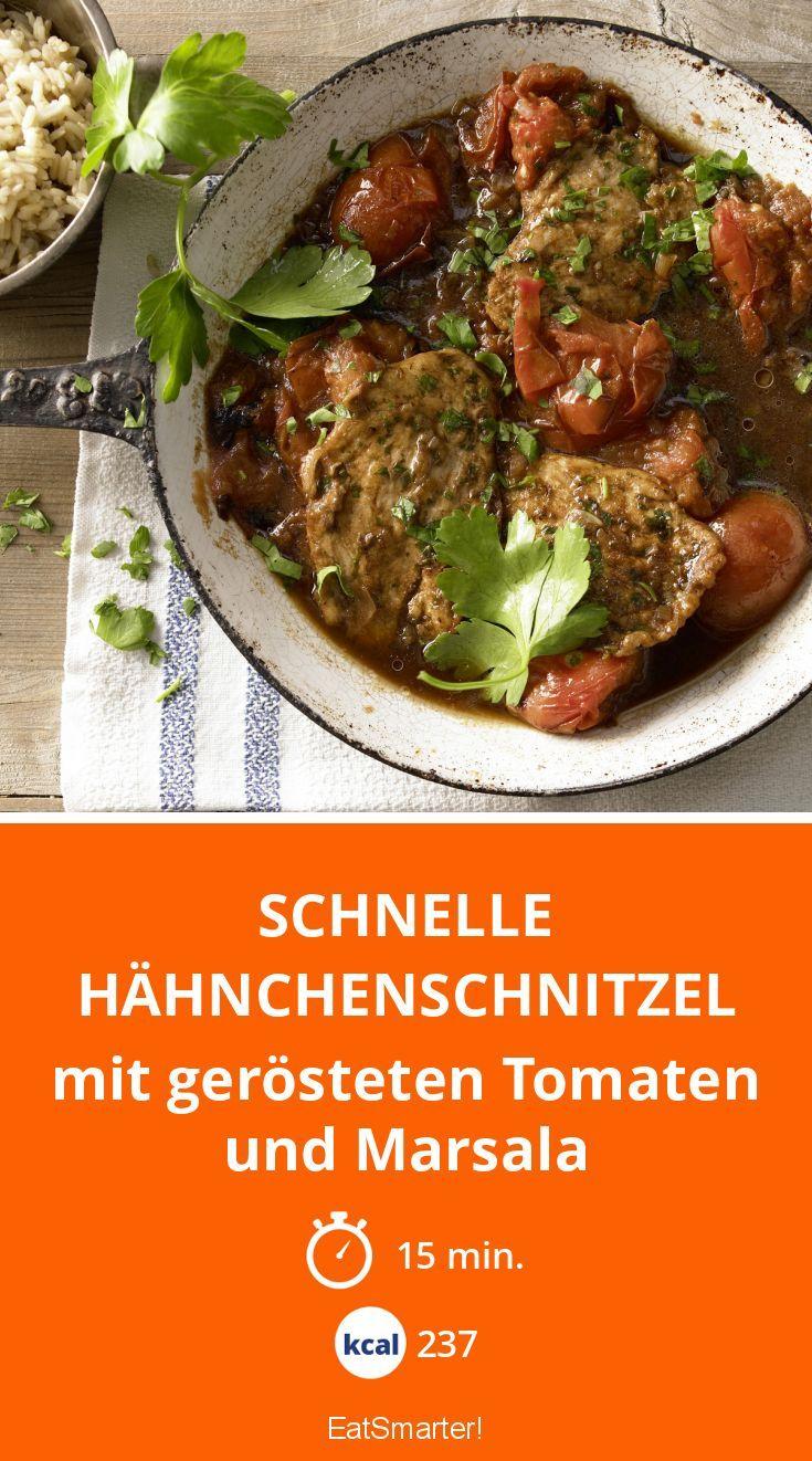 Schnelle Hähnchenschnitzel - mit gerösteten Tomaten und Marsala - smarter - Kalorien: 237 Kcal - Zeit: 15 Min. | eatsmarter.de